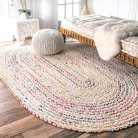 The Curated Nomad Grove Handmade Braided Ivory Rug (5' x 8' Oval)
