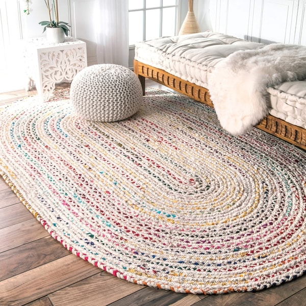 The Curated Nomad Grove Handmade Braided Ivory Rug - 5' x 8' Oval