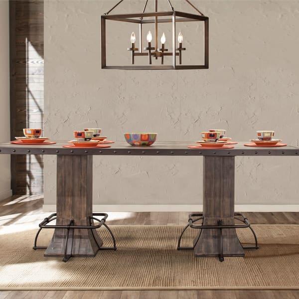 Carbon Loft Leona Walnut Wood Metal Rectangle Counter