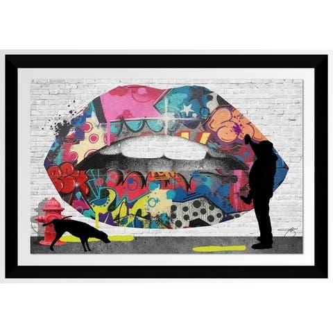 "BY Jodi ""Graffitti Lips"" Framed Acrylic Wall Art Décor"