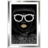 "BY Jodi ""Gold Lips"" Framed Acrylic Wall Art Décor"