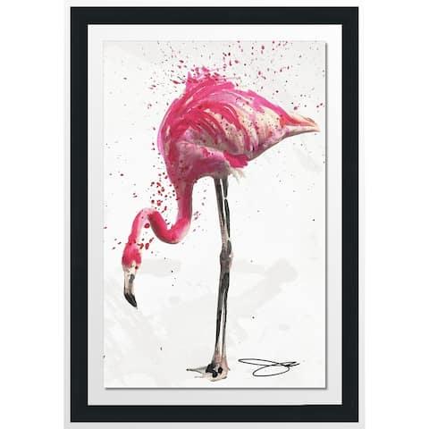 "BY Jodi ""Flamingo 1"" Framed Acrylic Wall Art Decor"
