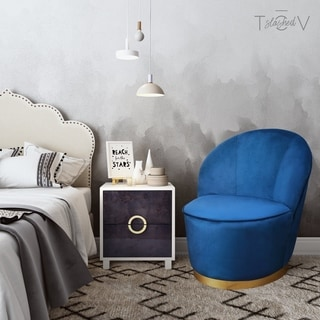Shop Nora Navy Velvet Wing Chair Free Shipping Today