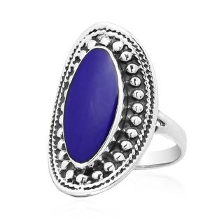 Vintage Framed Oval Stone Sterling Silver Statement Ring Thailand