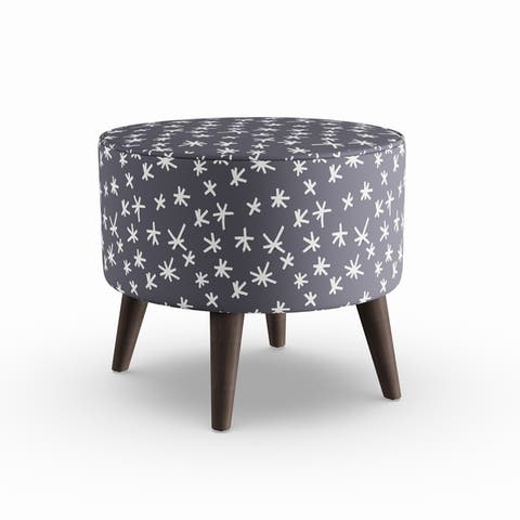 The Curated Nomad Borgarnes Round Ottoman with Splayed Legs in Prints