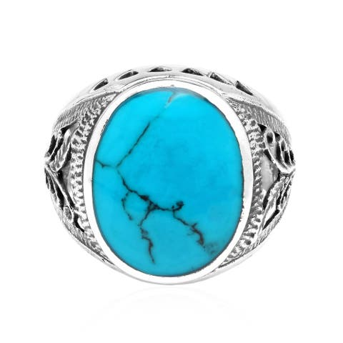 Brilliant Color Oval Shaped Inlaid on Sterling Silver Ring (Thailand)