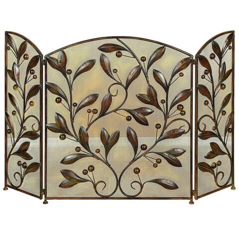 Mesh Design 3 Panel Metal Fire Screen with Leaf Motif, Bronze