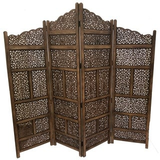 Benzara Hand Carved Foldable 4 Panel Wooden Partition Screen/RoomDivider,Brown