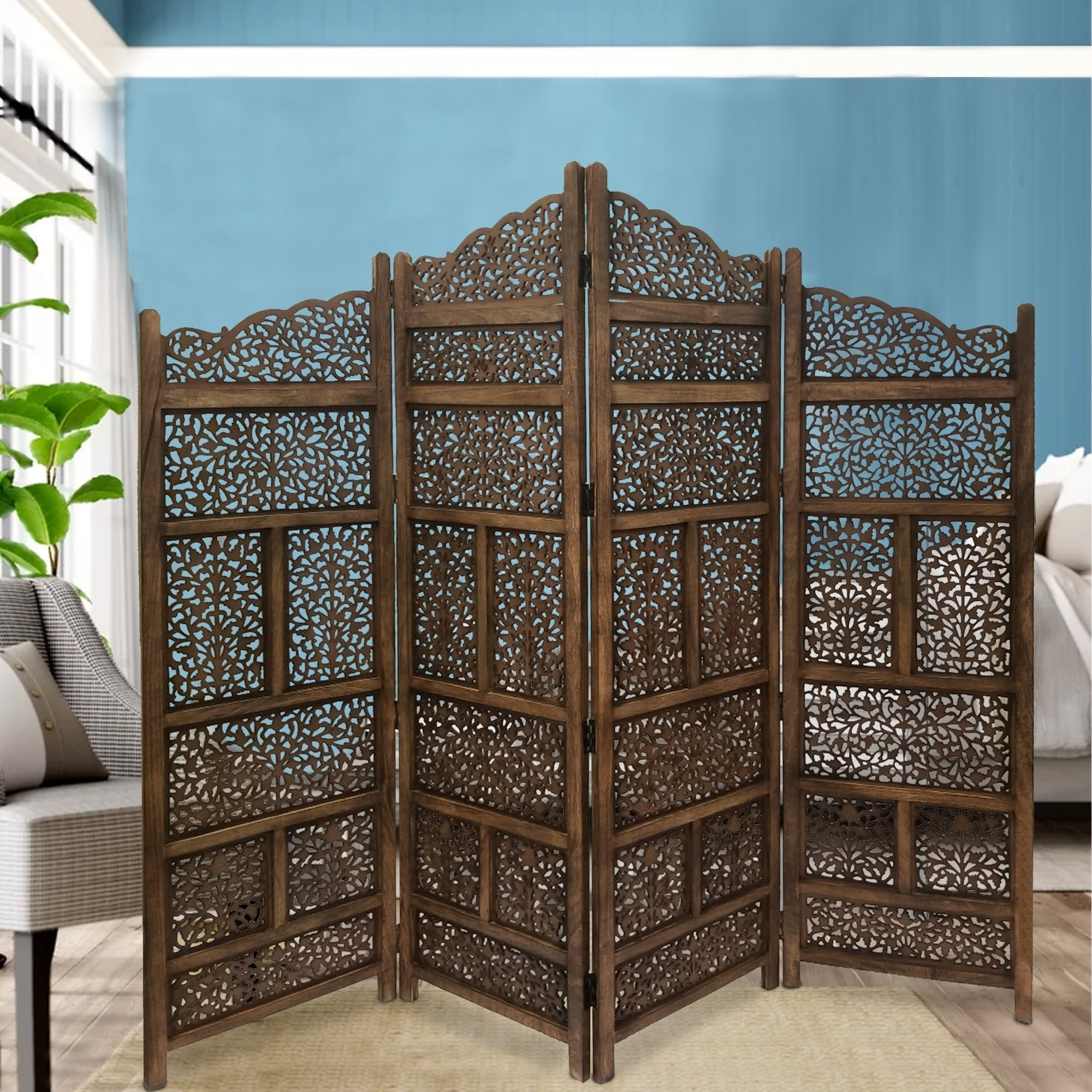 Benzara Hand Carved Foldable 4 Panel Wooden Partition Screen Roomdivider Brown Overstock 20354449