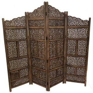 Hand Carved Foldable 4-Panel Wooden Partition RoomDivider,Brown