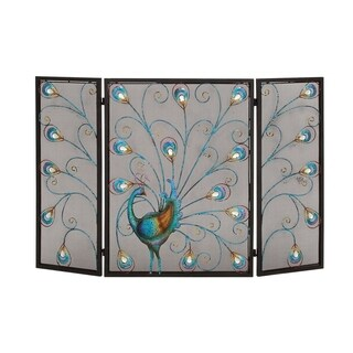 Peacock Themed Metal 3- Panel Fireplace Screen, Multicolor
