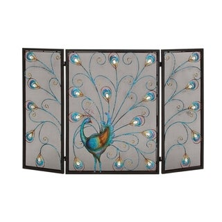 Peacock Themed Metal 3 Panel Fireplace Screen, Multi color