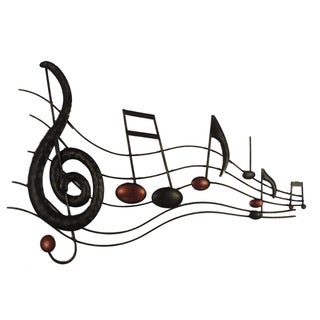 Musical Metal Notes Wall Decor In Black and Copper