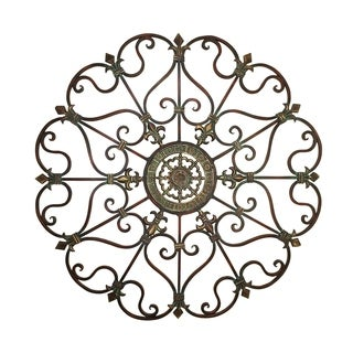 Gracewood Hollow Dhansuk Ornate Round Bronze Metal Wall Decor