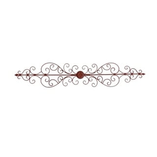 Traditionally Carved Metal Wall Plaque With Scroll work, Brown