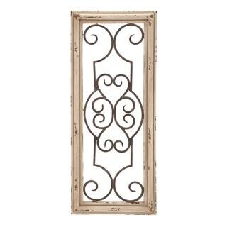 Benzara Wood and Metal Panel Wall Decor, Brown