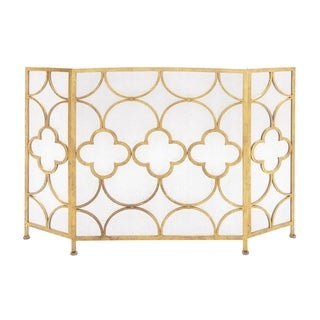 Stylish 3- Panel Metal Fireplace Screen In Gold
