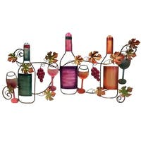 Classy Metal Based Wine Wall D?cor, Multicolor