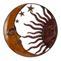 Benzara Celestial Metal Sun Moon Wall Decor, Bronze Gold and Rust Red