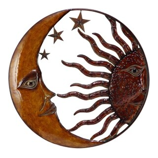 Benzara Celestial Metal Sun Moon Wall Decor, Bronze Gold and Rust Red