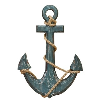 Benzara Nautical distressed Wooden Anchor With Rope Decor, Blue