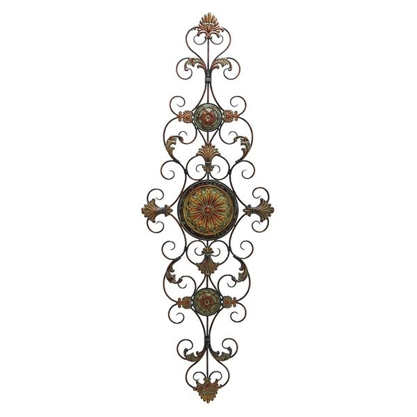Vintage Style Metal Scrollwork Wall Decor, Brown and Black