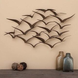 Porch & Den Hiteon Black Finish Metal Flock of Flying Birds Wall Decor