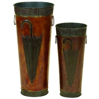Benzara Set of 2 Metal Umbrella Stand, Brown