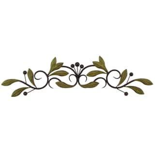 "31"" Olive Branch Door Top Wall Hanging In Metal, Green And Brown"
