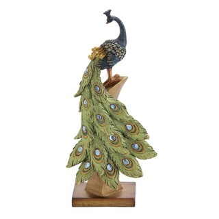 Polystone Peacock Figurine On Golden Stand, Multicolor