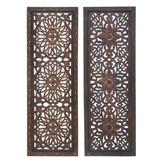 Benzara Floral Hand Carved Wooden Wall Panels, Assortment of Two, Brown