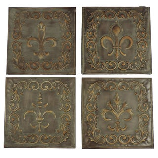 Distressed Metal Wall Décor With Filigree Carvings Set of 4