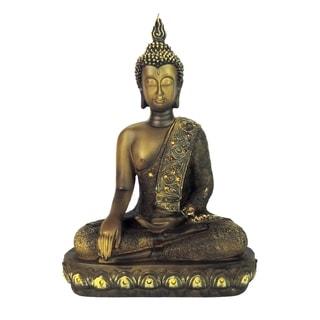 Polystone Buddha Figurine With Pointed Ushnisha, Olive Green