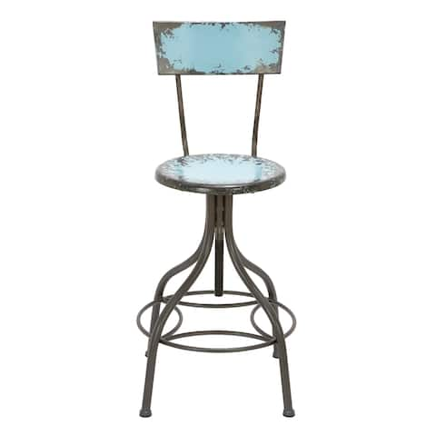 Benzara Industrial Style Metal Bar Chair With Adjustable Seat, Blue