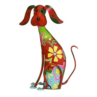 Adorable Multicolored Iron Dog Garden And LawnDecor