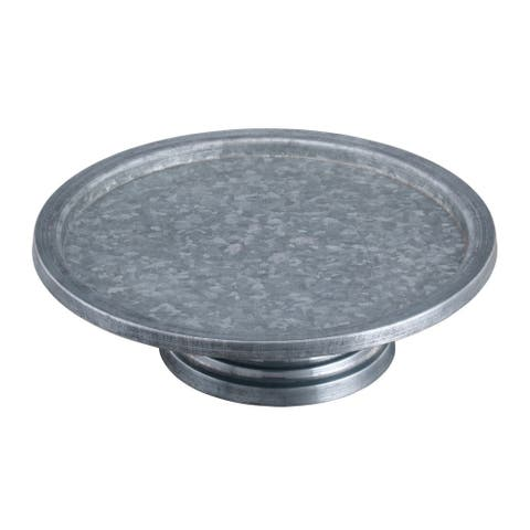 Round Galvanized Metal Cake Stand with Rippled Pedestal Base, Gray