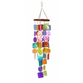 Exquisite Wind Chime with Wooden Round Top and Ring Handle, Multicolor