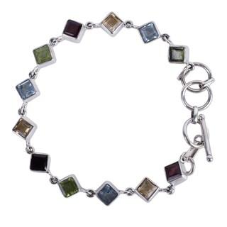 Handmade Sterling Silver 'Delicate Gaze' Multi-gemstone Bracelet (India)