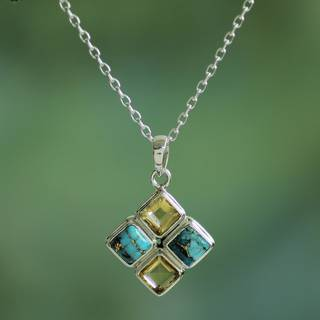 Handmade Sterling Silver 'Sun Meets Sky' Citrine Turquoise Necklace (India)