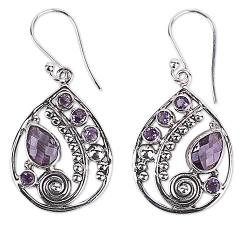 Handmade Sterling Silver Lilac Radiance Amethyst Earrings (India)