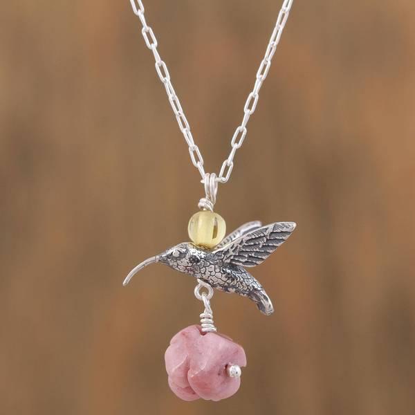 Shop handmade sterling silver hummingbird treasure rhodochrosite handmade sterling silver x27hummingbird treasurex27 rhodochrosite amber necklace aloadofball Images