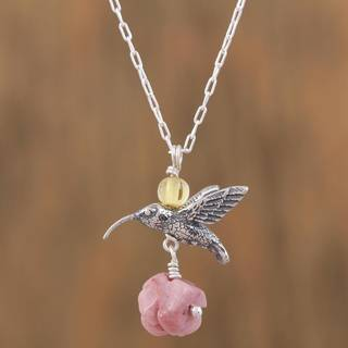 Handmade Sterling Silver 'Hummingbird Treasure' Rhodochrosite Amber Necklace (Mexico)