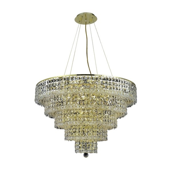 Fleur Illumination Collection Goldtone Steel/Crystal 22-inch High x 30-inch Diameter 17-light Chandelier
