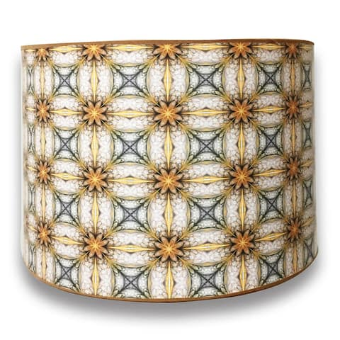 Royal Designs Modern Trendy Decorative Handmade Lamp Shade - - Yellow and Gold Kaleidoscope Design - 10 x 10 x 8