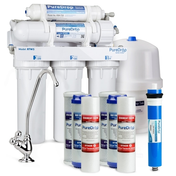 PureDrop RTW5 5-Stage Reverse Osmosis System 50GPD w/Replacement Kit