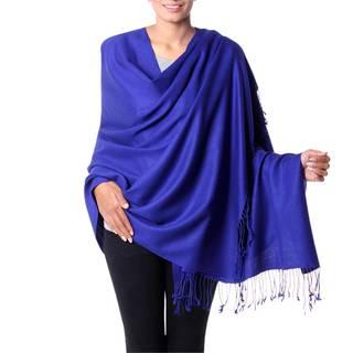 Handmade Wool Silk Blend 'Evening Sapphire' Shawl (India)