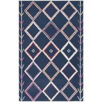 Safavieh Handmade Bellagio Moroccan Boho Navy / Multi Wool Rug - 4' x 6'