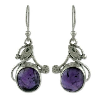 Link to Handmade Sterling Silver 'Impassioned Plum' Amethyst Earrings (India) Similar Items in Earrings