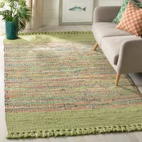 Safavieh Hand-Woven Montauk Contemporary Green / Multi Cotton Rug - 5' x 8'