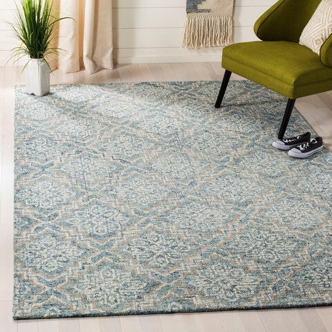 Safavieh Handmade Abstract Contemporary Blue / Grey Wool Rug - 6' x 9'